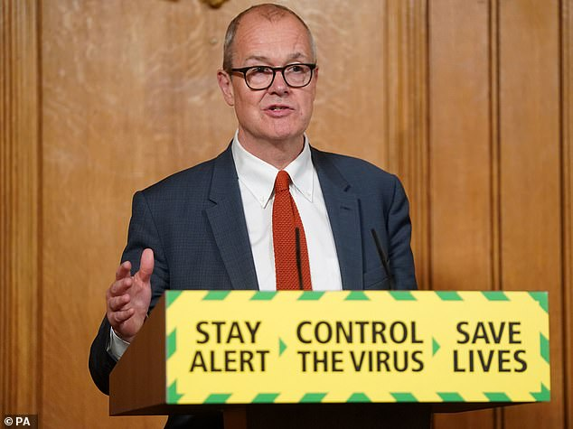 The institute's chief will report to ministers at the Department of Health and to Professor Chris Whitty, England's Chief Medical Officer, in a move which gives political appointments direct control over its pandemic response (pictured, chief scientific adviser Sir Patrick Vallance)