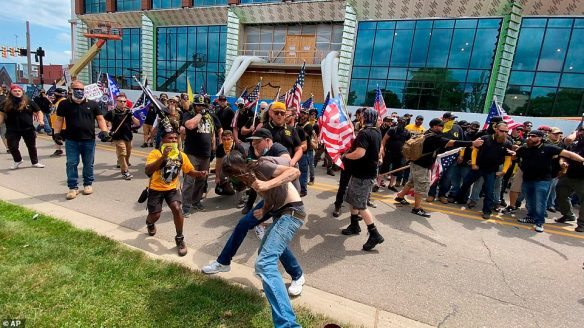 In Kalamazoo, Michigan, anti-racism protesters attending a church-organized rally fought with Proud Boys in the streets