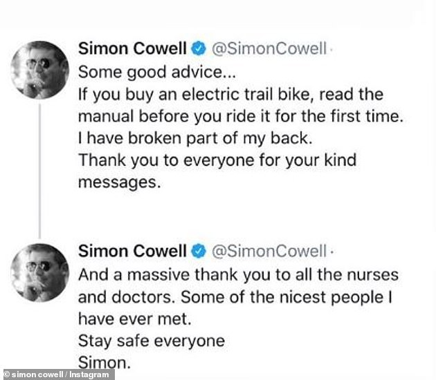 From his hospital bed: Simon broke his silence after breaking his back, posting an update to his Twitter and Instagram feeds