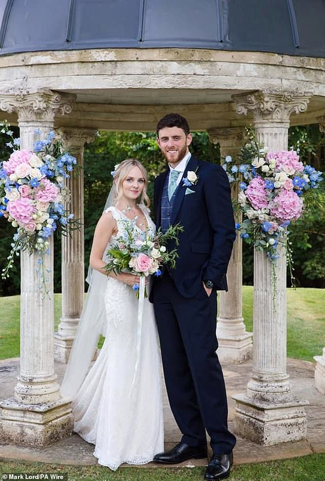 PC Andrew Harper and his wife Lissie celebrating their wedding at Ardington House in Oxfordshire in summer 2019