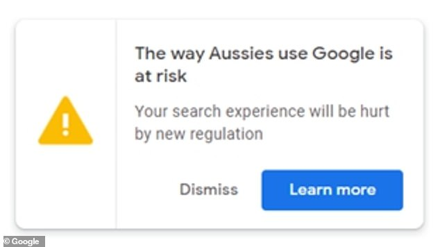 Anyone using Google last month was confronted with a yellow exclamation mark with a link to an open letter to Australians' from the company's managing director in Australia Mel Silva