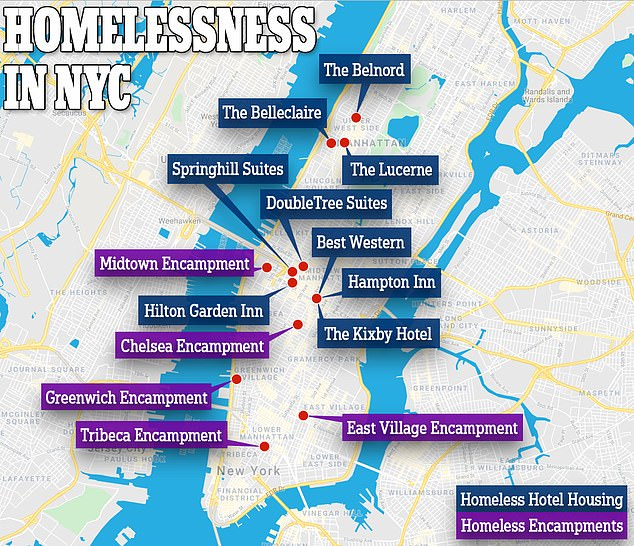 As shootings spiral, there is also a growing homeless problem with encampments popping up all over Manhattan. 13,000 homeless people have also been moved into hotels around the city
