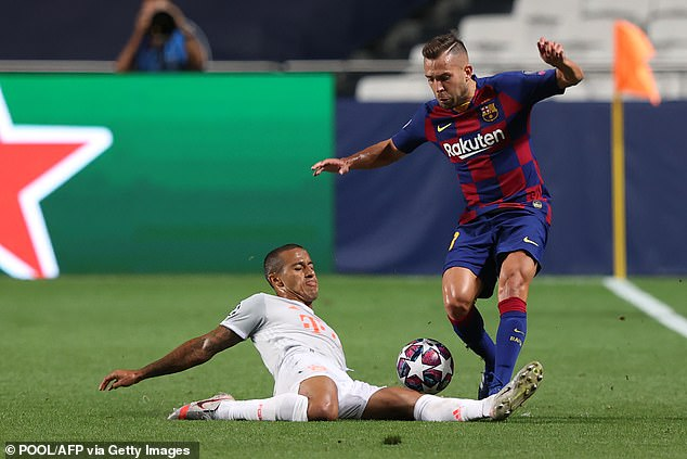 Jordi Alba could also have played his last Barcelona game in the Champions League loss