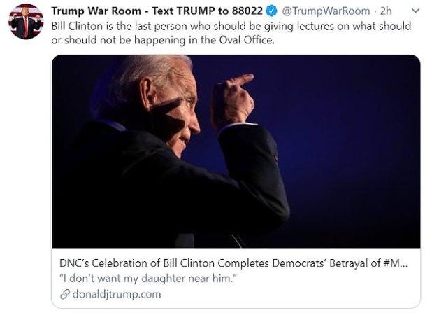 Donald Trump's fundraising account tweets his anger at Clinton's hypocrisy