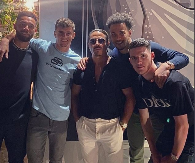 Ryan Fredericks (left), Mason Mount (second left) and Declan Rice (right) were recently pictured together on holiday on the Greek island of Mykonos