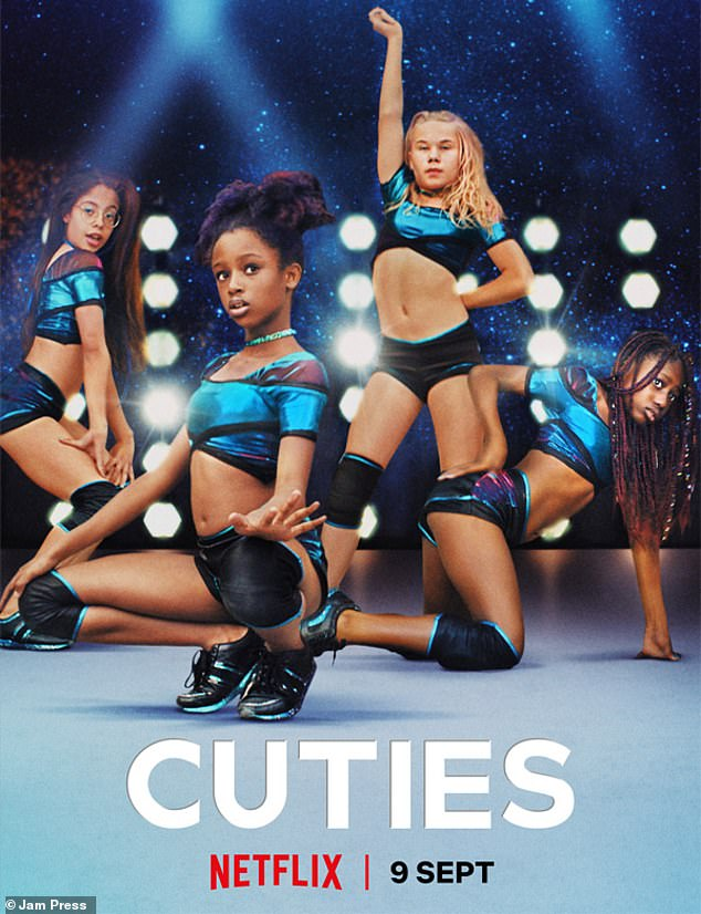 Outrage: Netflix sparked fury earlier this month when it released incredibly provocative imagery to promote the movie - including this image of young girls in hot pants and crop tops