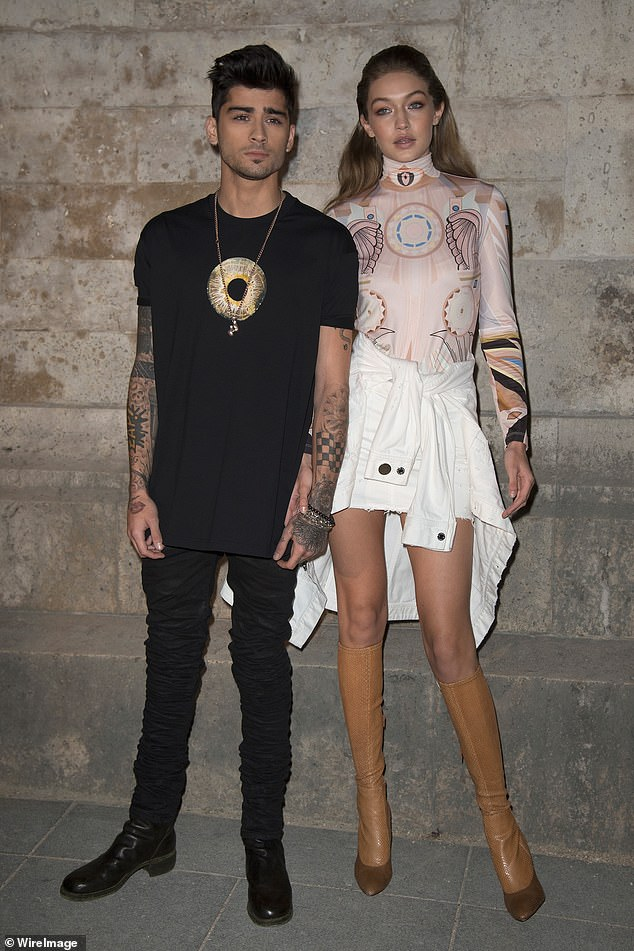 Mom and Dad: Gigi Hadid and her former One Direction singer, handsome Zayn Malik, have been together for five years;  seen in 2017