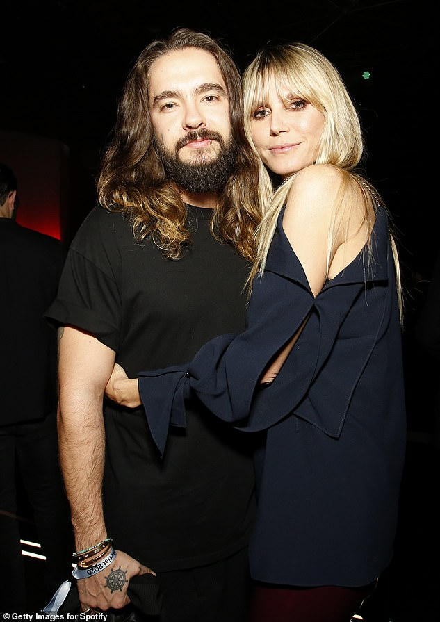 New husband: The blonde beauty has been married to German guitarist Tom Kaulitz, 30, since February 2019. They are pictured in January in Los Angeles