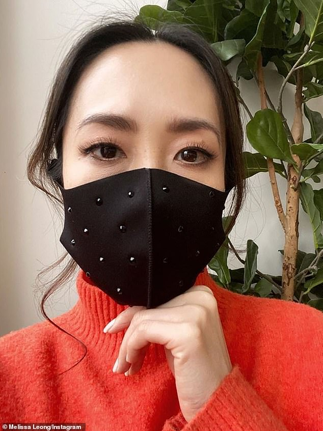 Safety first! It comes just weeks after Melissa shared a selfie while dressed in a blood orange turtleneck sweater, accessorised with a Swarovski crystal studded black face mask