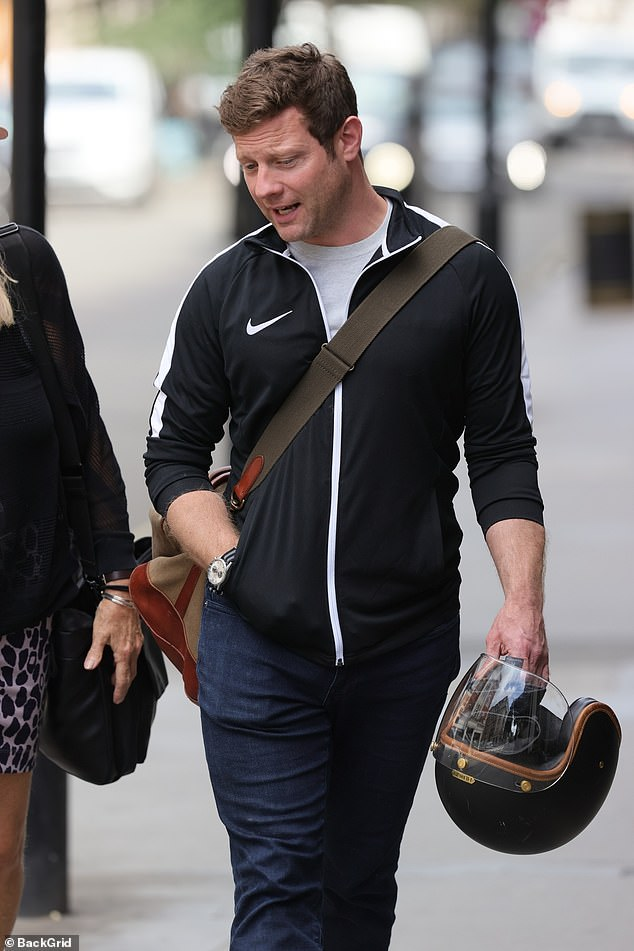 Pictured: Dermot O'Leary was pictured without his wedding ring on Saturday, hours alter revealing the precious item had been stolen