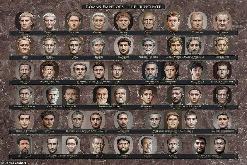 ArtistDaniel Voshart has transformed the chipped stone busts of ancient Roman emperors into photorealistic portraits with the help of historical artefacts and creative software