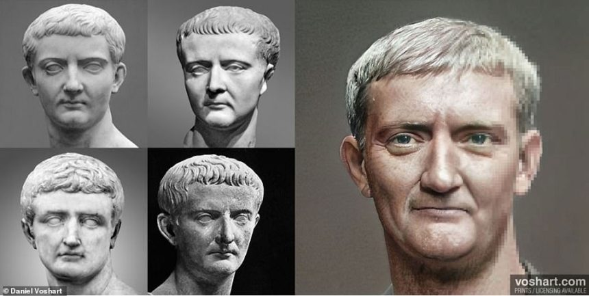 Academics have since praised his portraits for their realism, and Daniel now chats with history professors and PhD student who give him guidance on certain aspected like skin tone. Pictured: Tiberius. Top left and right: Royal Ontario Museum, bottom left: National Archeological Museum in Naples, bottom right: The Lansdowne