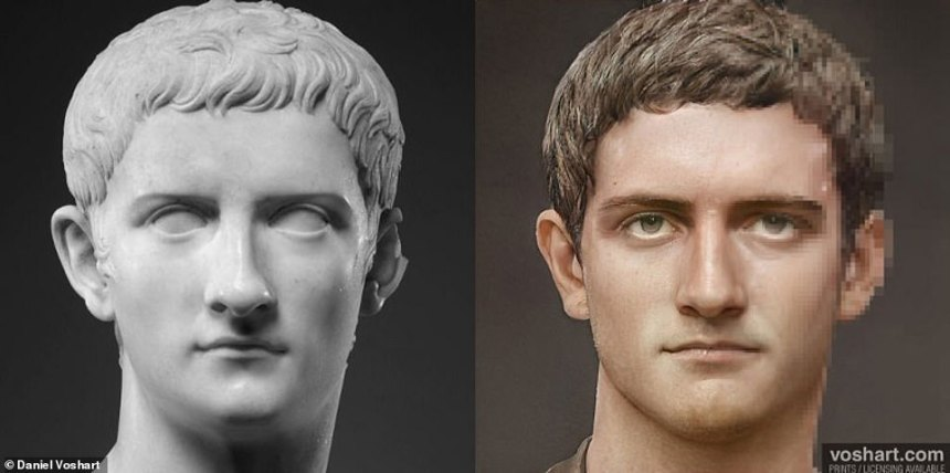 This side-by-side show Daniel's version of the third emperor Caligula, who ruled from37AD until his assassination in 41 AD, against a bust in the Met Gallery