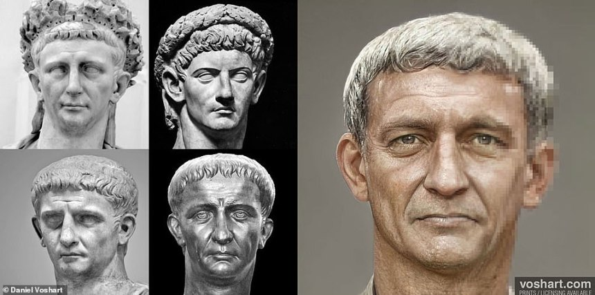 Though more interested in design work for VR for use in architecture and the film industry, the coronavirus pandemic brought Daniel's work to stop and left him with time to explore his hobby of colourising statues. Pictured: Claudius, clockwise from top left:National Archeological Museum in Naples, The Vatican, National Archeological Museum in Spain, Museum Chiaramonti