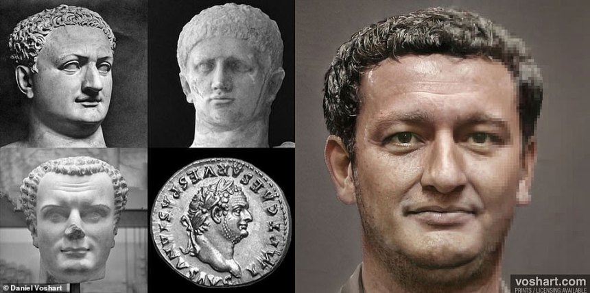 Pictured: Titus. Through research, Daniel decided to give him darker hair and eyes, 'disregarding an unreliable citation of John Malalas which described Titus as having blond hair'. He also gave him more facial hair as per a coin bearing his face