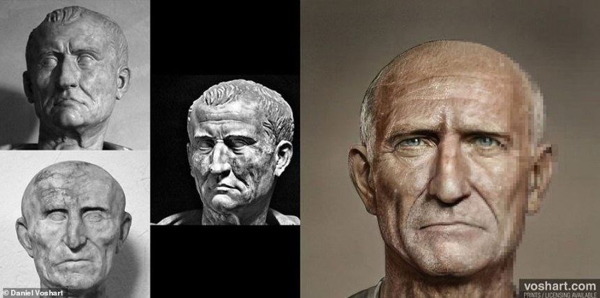 Daniel admitted to introducing his own biases when creating the interpretations of the Emperors. Pictured: Galba, top left and centre: Capitoline Museum in Rome, bottom left: Museum of Antiquities in Stockholm