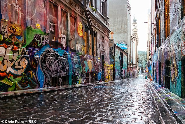The iconic Hosier Lane in Melbourne's central business district is also empty as no one is allowed to walk around