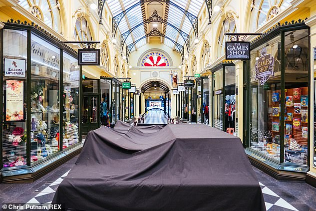 Melbourne's once popular Royal Arcade shopping center is quiet and deserted with the fourth stage lockdown closing almost all non-food retail outlets