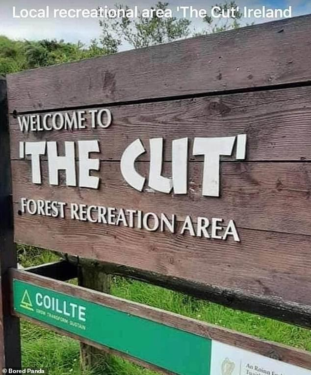 The Cut, a recreational area in Ireland, picked an unfortunate font for its sign - leaving some people to mistake the woodland's name for something rather rude