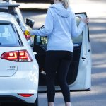 Melissa Doyle looks as she takes her daughter for a driving lesson