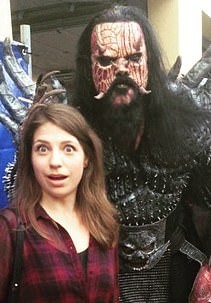 Ms Stasevska is pictured with Mr Lordi, the lead vocalist in heavy metal band Lordi