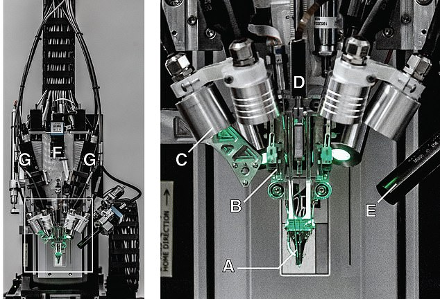 A small robot connects the thread-like electrodes to certain areas of the brain, stitches up the hole and the only visible remains is a scar left behind from the incision. The 'sewing robot' is said to cost between $10 million and $20 million in startup cash, but now can be made for about $500,000