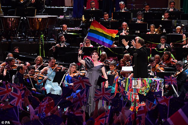 Jamie Barton waving the rainbow flag during the Last Night of the Proms at the Royal Albert Hall in London last year while singing Rule Britannia