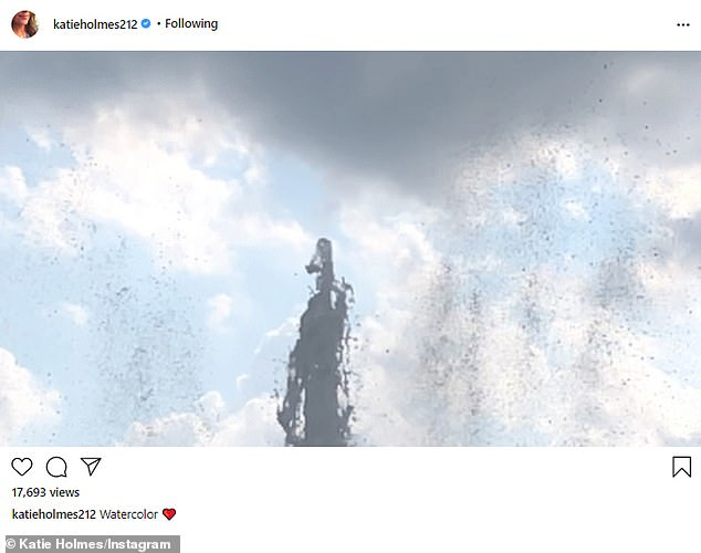 'Watercolor': On the same day, Katie - who has 2.1 million Instagram followers - shared a slow-motion video of the overflowing top of a fountain on a sunny, blue summer day.