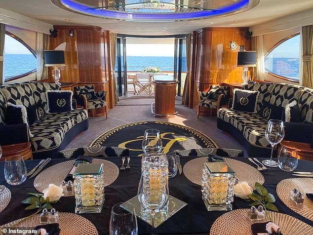 The lavish 30-metre yacht features a personalised fit out that includes the Lady Pamela's 'LP' logo