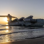 Gigantic 1980s Soviet vehicle MD-160 that dwarfs a Boeing 747 lies abandoned in the Caspian Sea