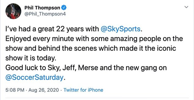 Thompson said his 22 years on the show were 'amazing' and wished the show good luck