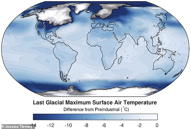 The average global temperature during the last Ice Age 20,000 years ago was 46°F (7.7°C) ¿ 11°F (6°C) colder than today ¿ a study has reported. Pictured, a map of air temperatures during the last glacial maximum in comparison with those of before the industrial period