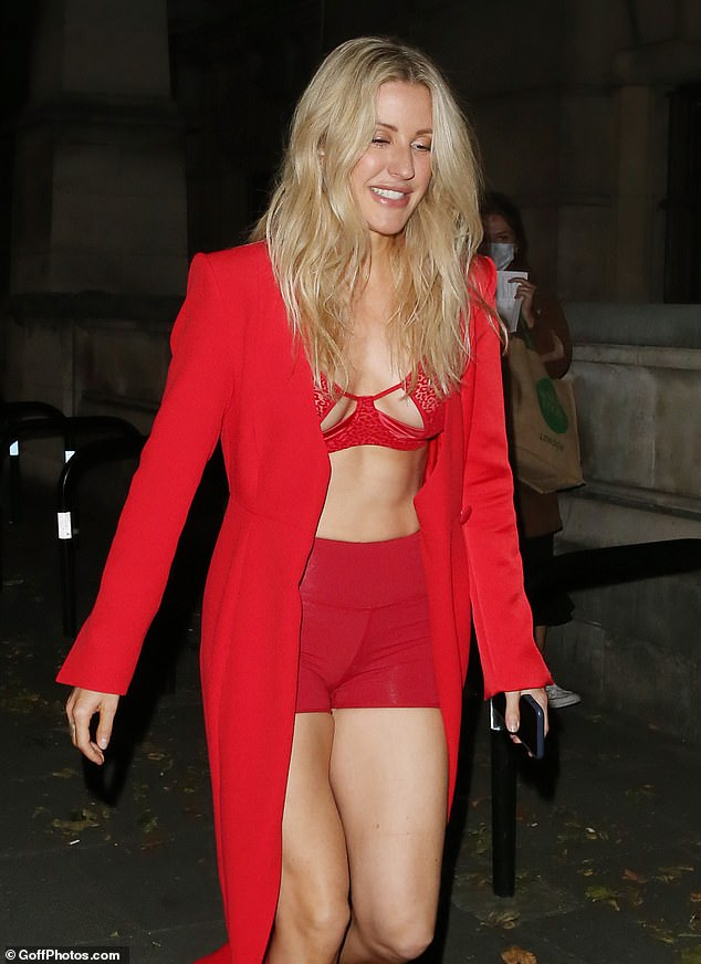Sizzling: Ellie looked red hot as she displayed her ample assets in a tiny cut-out bra with sheer leopard print detailing on it