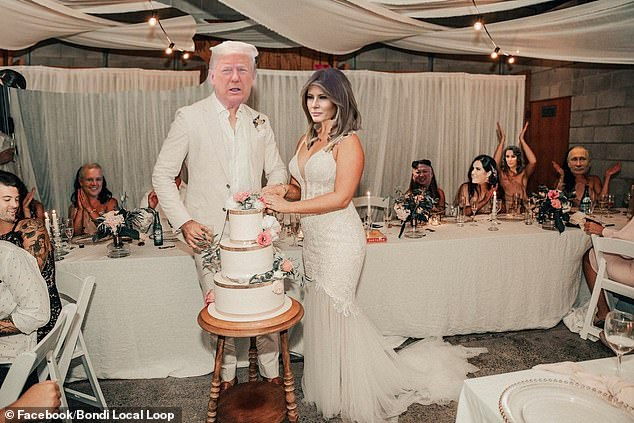 One man photoshopped Donald and Melania Trump's faces over the couple, and put the faces of Kim Jung Un, Scott Morrison, Vladimir Putin and Kim Kardashian over the guests