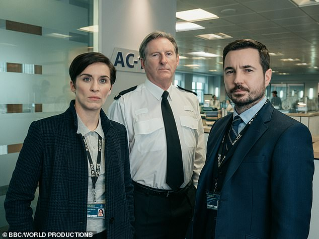Back to AC-12: The show, which stars Martin as DS Steve Arnott, Vicky as DI Kate Fleming and Adrian as Superintendent Ted Hastings - following anti-corruptions officers as they root out bent coppers in the AC-12 division (pictured in show still)