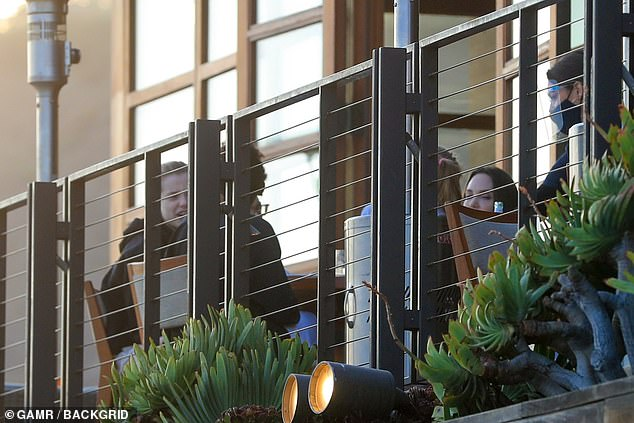 Al fresco dining: Jolie was spotted in the patio section of Nobu for a family dinner