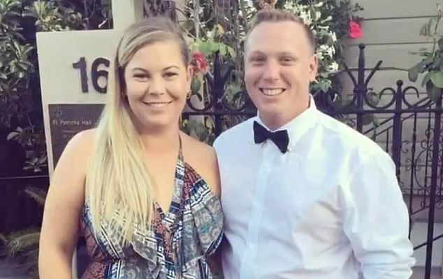 Kimberley Brown (pictured, with her partner), from Ballina, in northern New South Wales, lost one of their twins aftertwins after waiting 16 hours for a flight to Sydney for emergency treatment because they could not gain entry into the nearest hospital in Queensland