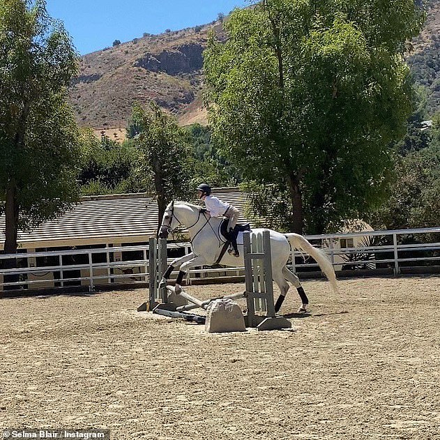 'Can't stop smiling': The actress, who revealed in 2018 that she was diagnosed with multiple sclerosis, managed to ride a few circuits of the ring and take a few low jumps on the gray
