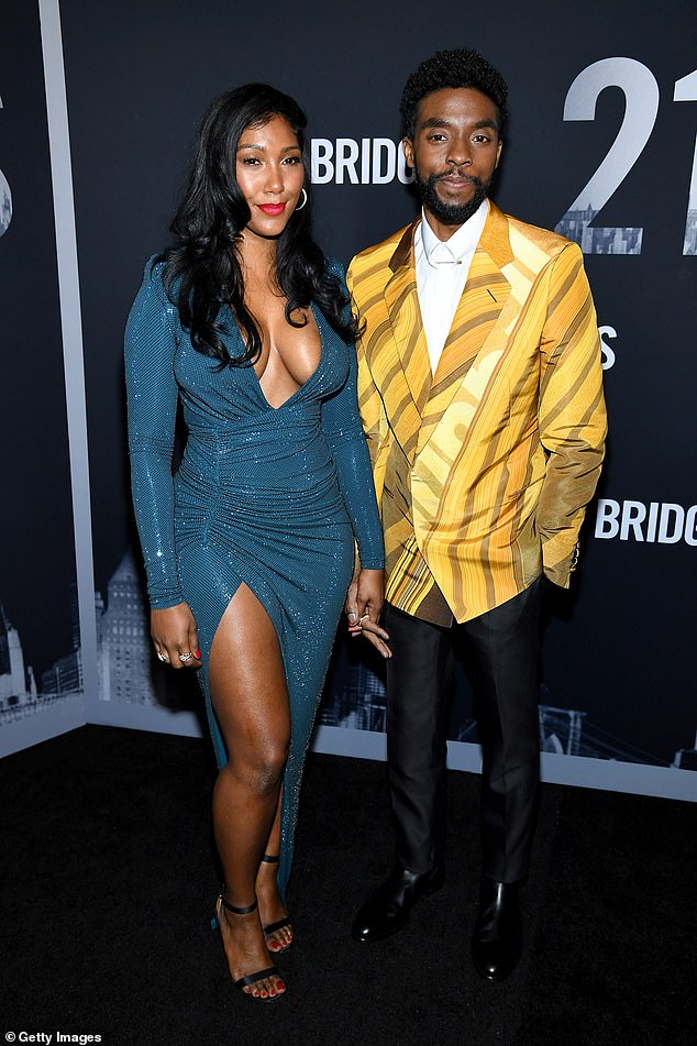 Surrounded by love:The Black Panther star passed away on Friday at his home in Los Angeles surrounded by his wife Taylor Simone Ledward and other family members, as confirmed by his publicist Nicki Fioravante to the Associated Press;Taylor and Chadwick pictured in 2019