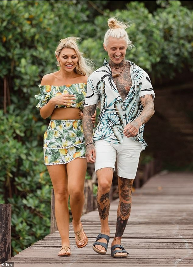 Over! Her beach sighting comes about eight months after she had her heart broken by womaniser Ciarran Stott (right) on Bachelor in Paradise, which was filmed in Fiji late last year