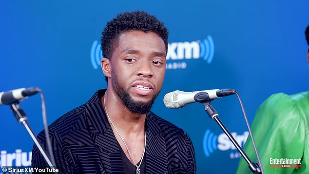 Heartbreaking: Chadwick Boseman, who died Friday at age 43 of colon cancer, was featured in a recently resurfaced video from 2018 in which he tearfully recounted meeting two young fans with terminal cancer; shown in 2018