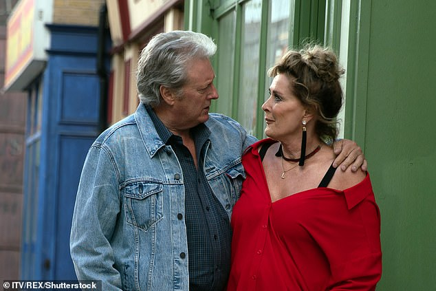 Change of plan: The blonde revealed that after initially quitting the cobbles, she changed her mind and had agreed to stay another year (pictured with onscreen ex husband Jim in 2018)