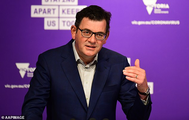 Prime Minister Daniel Andrews (pictured) urged Victorians on Saturday to persevere with strict lockdowns as daily coronavirus infections drop to double digits