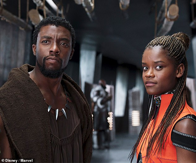 Blown away: Coogler first saw Boseman in unfinished scenes from Captain America: Civil War and was astounded that he chose to read lines in Xhosa on the day of the shoot; still from Black Panther