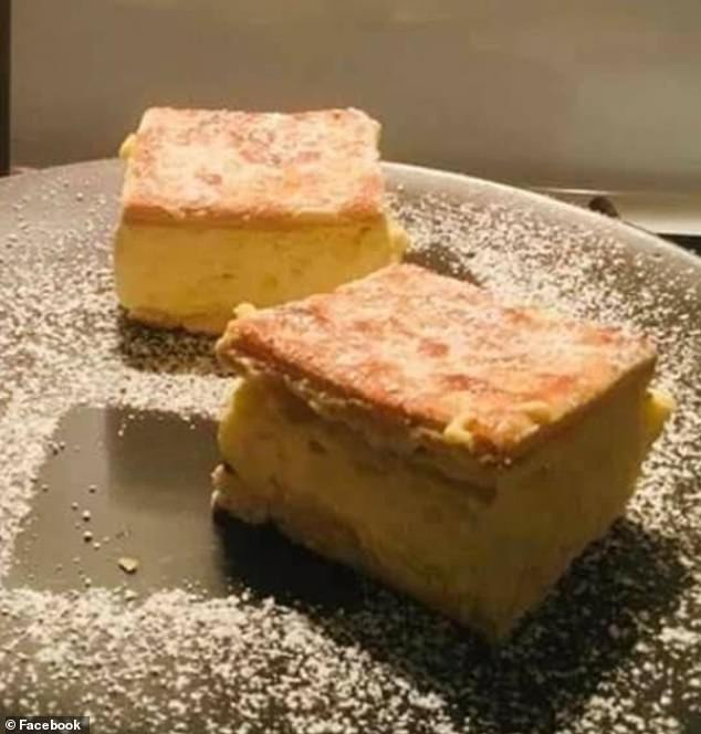 Home cooks are whipping up decadent vanilla slices using just three basic ingredients found in their kitchen (picture of one home cook's creation using three ingredients)