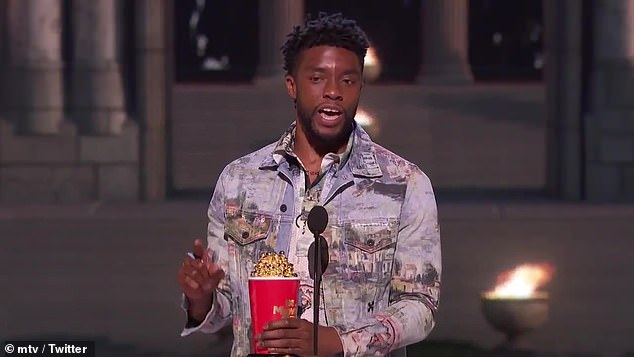 Real hero: Boseman won the award for Best Superhero for his 2018 blockbuster Black Panther, but when he got on stage, he dedicated his award to a real hero