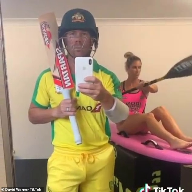 TikTok has come under fire due to concerns that sensitive user information and data could be shared with Chinese authorities (Australian cricketer David Warner pictured in a TikTok)