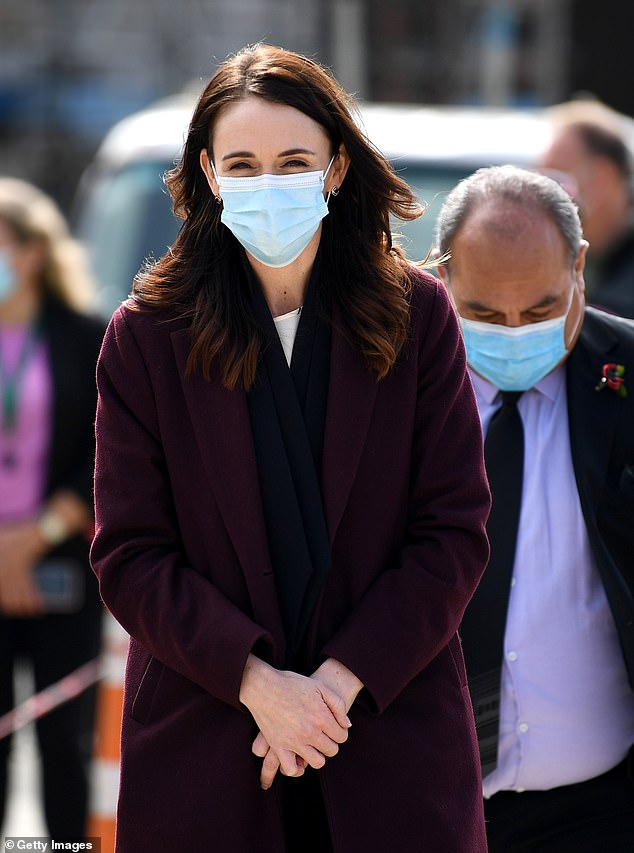 The New Zealand prime minister is pictured on Monday during a visit to aKainga Ora housing development in Auckland. She said there was 'no excuse' for the government's social media oversight