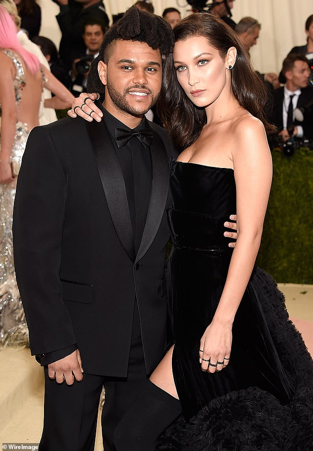 Reunited: The Starboy artist reunited with Hadid last week in New York City, where they filmed their appearances from a studio:They played it cool and crossed paths with each other, same place, same time' (pictured in May, 2016)