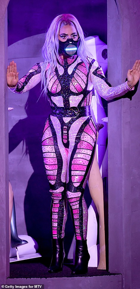 Quick change: Gaga wore a variety of ensembles for the performance